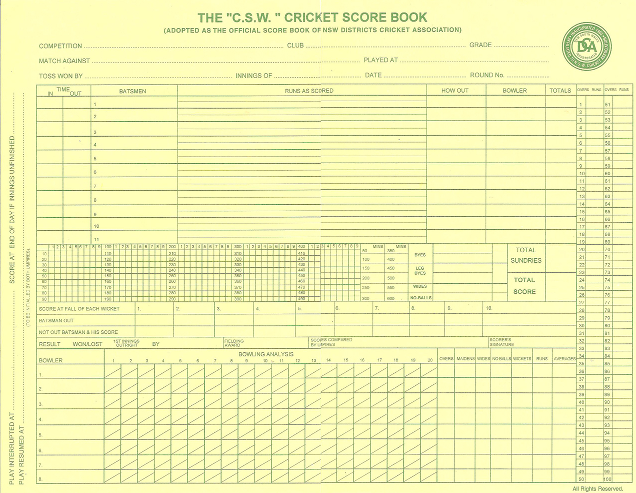 cricket score sheet printable Quotes
